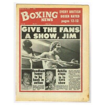 Boxing News Magazine October 13 1978 MBox3430/F Vol.34  No.41 Give The Fans A Sh