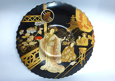 Large Rare plate lacquer painting Japan Japan Meiji b-4458