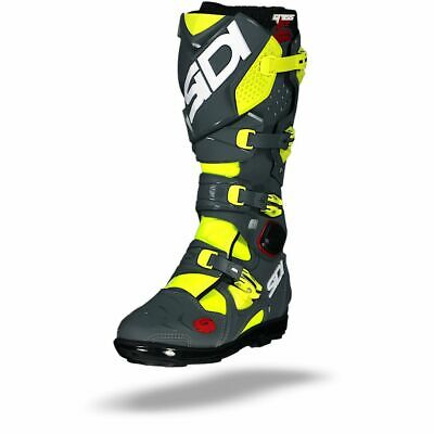 Sidi Crossfire 2 SRS Yellow Fluo Grey MX Motocross Motorcycle Boots - Free P&P