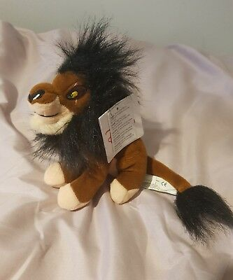 "Disney parks rare scar lion king beanie plush soft toy walt disney 8"" with tags"
