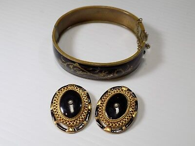 Antique VICTORIAN MOURNING Black Enamel Onyx Pearl Dress Clips and Bracelet Set