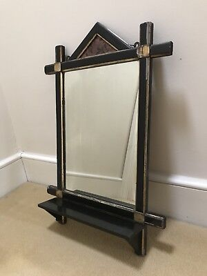 Lacquered antique arts and crafts mirror