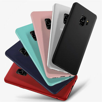 For Samsung Galaxy A6 A8+ 2018 A3 A5 A7 Matte Slim Silicone Soft TPU Case Cover