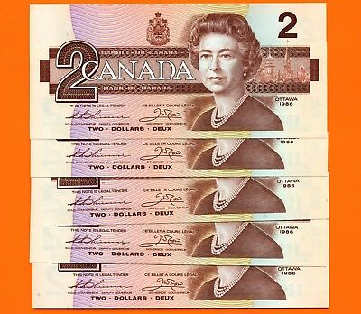 5 Canada 1986 2 Dollar Bank Notes UNC Consecutive S/N's EGK5307565 - 69