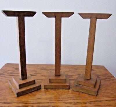 RECLAIMED 3 VINTAGE OAK WOODEN JEWELLERY SHOP DISPLAY STAND STANDS   j02