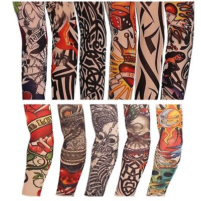 2 x Fake Nylon Adult Temporary Tattoo Sleeves Arm Stockings Fancy Dress Joke
