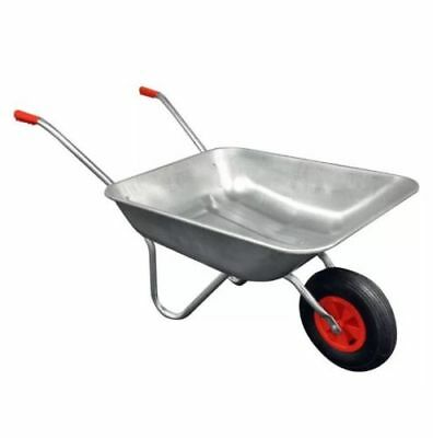 65L Galvanised Steel Metal Wheelbarrow Pnuematic Tyre Garden Building Diy Barrow