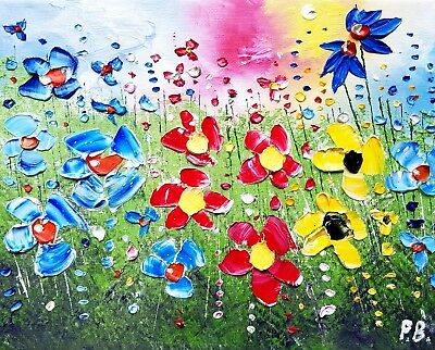 Colourful meadow flowers in love, an original oil painting on canvas, Phil Broad