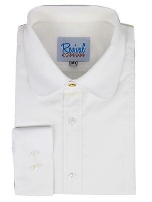 Revival Authentic 1920s30s40s Style White Club Collar Shirt with Gold Stud