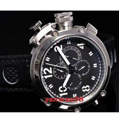 50mm Parnis polished bezel black dial big face date week month automatic watch