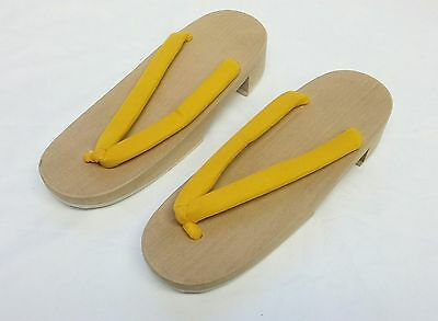 Women's Japanese Geta Sandals Wooden Yellow US Size 6-7 9.25""
