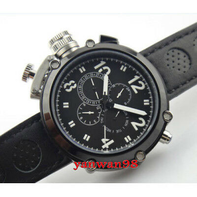 50mm Parnis black dial PVD case big face date week month seagull automatic watch