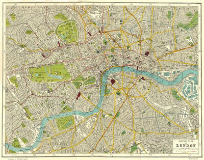 LONDON. General plan of London 1926 old vintage map chart