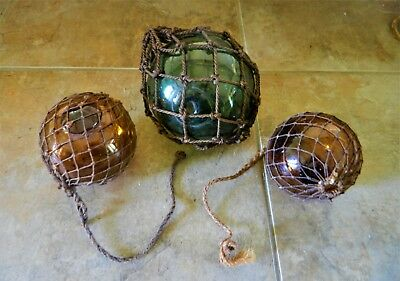 3 X Antique Glass Fishing Net Floats With Netting