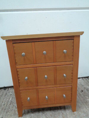 teak  effect 3 drawer chest of drawers