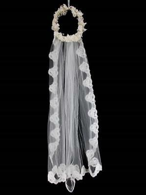 Vintage Bridal Crown Wedding Veil Faux Pearl Beads Lace Flowers Tulle
