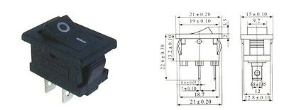 2x Black KCD1-101 21X15MM On/Off SPST Boat Rocker Switch 2 Pin 6A/250V UK