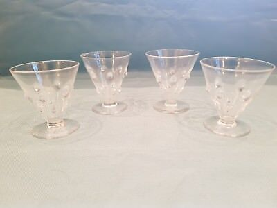 Unusual Vintage Style Set of 4 Small Wine/Spirit Glasses with Bubble Detail-GC