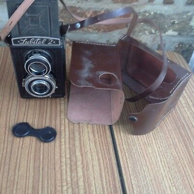 Vintage Russian Made Lubitel 2 TLR Camera with Lens Cap And Original Case