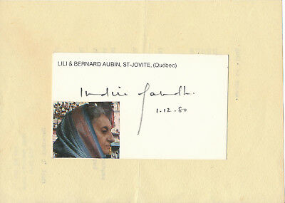 Indira Gandhi - signature on the only female Prime Minister of India 1980
