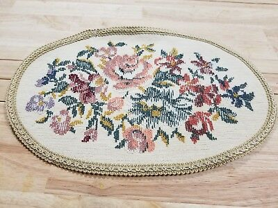 Antique/Vintage, DOLL HOUSE RUG, Flowers/Oval/, PRETTY,  miniatures