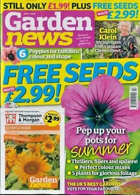 GARDEN NEWS MAGAZINE ISSUE 2nd JUNE 2018 WITH 2 x PACKS OF SEEDS ~ NEW ~