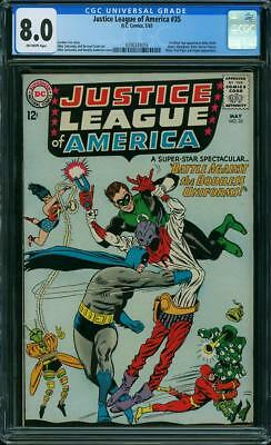 JUSTICE LEAGUE OF AMERICA #35 CGC 8.0; OW pages; 1st SILVER AGE appearance KILLE