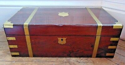 Antique Victorian Brass And Mahogany Writing Box Slope With Key Secret Drawers
