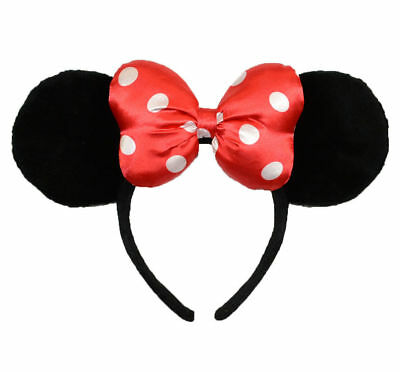 Disney Parks WDW Minnie Mouse Red Polka Dots Satin Bow Ears Headband Costume
