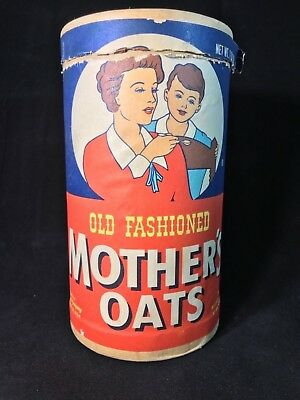 Vintage Old Fashioned Mother's Oats Round Cereal Box 1lb 2oz.