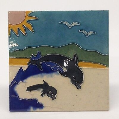 """Dolphin Fish - Decorative Ceramic Art Tile - 6""""x6"""" Hang  Or Use Stand LB-15"""