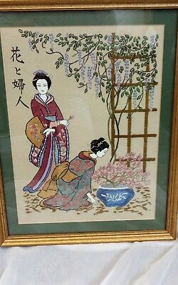 Vintage Japanese Silk Embroidered Picture framed ladies and flowers