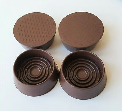 4-High Sided Castor Cups NON SLIP Floor Protector All Rubber Base 44mm