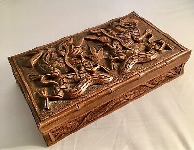 Chinese Antique Hand Carved Dragon Cigarette Box
