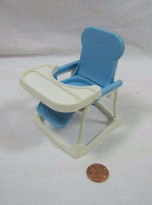 Vintage Fisher Price Chunky Little People BLUE & WHITE BABY HIGH CHAIR 1992 Rare