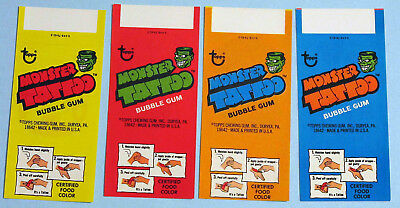 All 4 Different NM/M Topps 1975 Monster Tattoo Wrappers