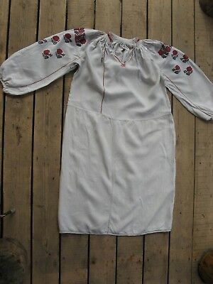 Handmade old vintage antique embroidery folk peasant ,Ukrainian  dress shirt m