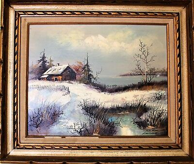19th Century Antique original oil painting on canvas Signed Laurance, Landscape