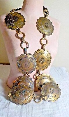 """Brass Concho Belt W/sun/teepee Other Symbols 38"""" Total Length Wt 5.4 Oz"""