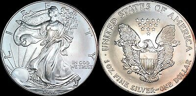 1996 American Silver Eagle (Ase) Lightly Toned 1 Ounce Fine Silver .999 Pure