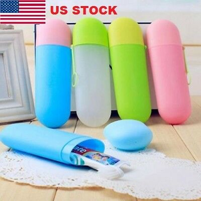 2PC Portable Toothbrush Protect Holder Cover Travel Hiking Camping Case Box Tube