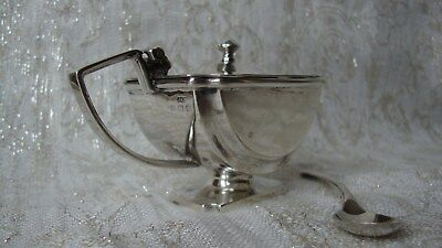 Birmingham silver Art Deco mustard pot with silver serving spoon