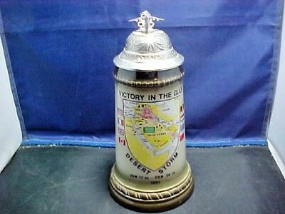 US  Victory In The Gulf Desert Storm Lidded Stein