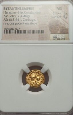 Byzantine Empire Heraclius & Her. Constantine 📍 NGC MS 5/3 Gold Ancient Coin