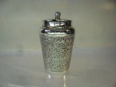 Persian or Indian c1920 Solid Silver Mustard Pot