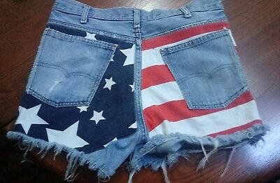 276a7e0371 Denium VINTAGE WEAR WOMENS DISTRESSED Patriotic JEANSHORTS USA Flag 4th of  July