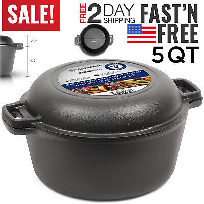 Cast Iron Dutch Oven Pot Pre-Seasoned Fry Pan Cooking Kitchen 5 Qt Quart Large