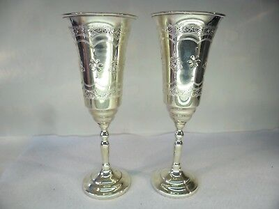 Pair of Russian Solid Silver Wine Goblets 369 GRAMS