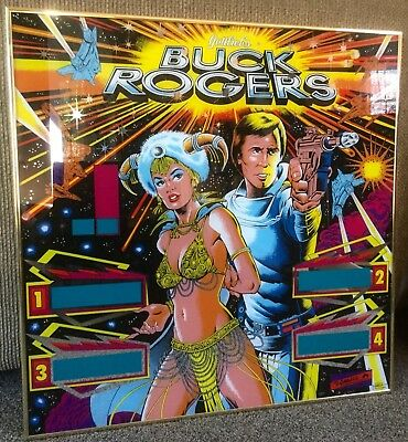"Vintage D. Gottlieb Original ""Buck Rogers"" Framed Pinball Machine BackGlass 1979"