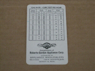 Gas Rate Cubic Feet Per Hour Calculation Card Roberts Gordon Appliance Corp
